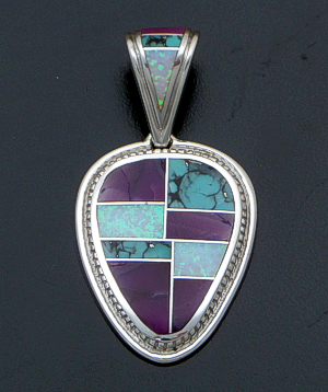 Supersmith Inc. - David Rosales Designs</a> - Shalako Inlay & Sterling Silver Inverted Teardrop Pendant #41173 Style P678 $285.00