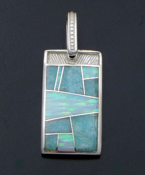 Supersmith Inc. - David Rosales Designs - Amazing Light Inlay & Sterling Silver Rectangle Pendant #41190 Style P150 $195.00
