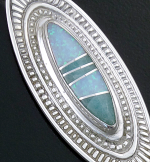 Supersmith Inc. - David Rosales Designs - Amazing Light Inlay & Sterling Silver Elongated Bordered Pendant #41191 Style P680 $220.00