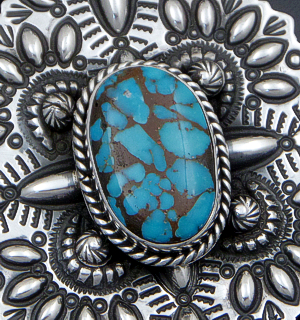 Darryl Becenti (Navajo) - Large Villa Grove Turquoise Stamped & Repoussé Sterling Silver Cross Pendant #41413 $660.00