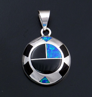 Supersmith Inc. - David Rosales Designs (Navajo) - Black Beauty Inlay & Sterling Silver Domed Circle Pendant #41560 P642 $235.00