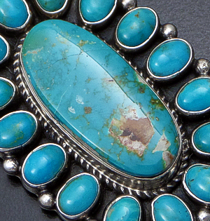 Geneva Apachito (Navajo) - Pilot Mountain Turquoise & Sterling Silver Oval Cluster Pendant #41592 $450.00