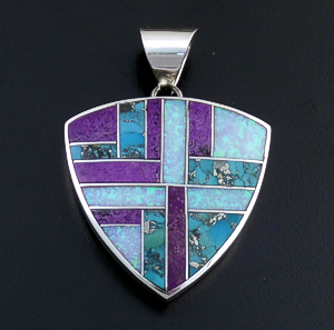 Supersmith Inc. - David Rosales Designs (Navajo) - Shalako Inlay & Sterling Silver Large Shield Pendant #42358 Style P546 $250.00