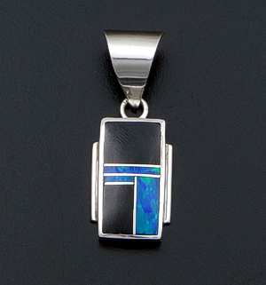 Supersmith Inc. - David Rosales Designs (Navajo) - Black Beauty Inlay & Sterling Silver Small Edged Rectangular Pendant #42362 Style P8002 $160.00