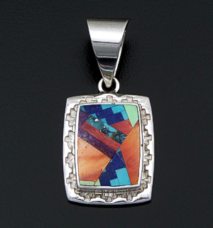 Supersmith Inc. - David Rosales Designs (Navajo) - Indian Summer Fancy Inlay & Sterling Silver Edged Rectangular Pendant #42370 Style P127F $280.00