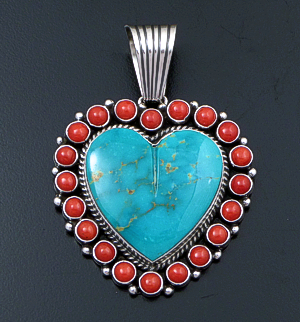 Geneva Apachito (Navajo) - Large Turquoise & Coral Sterling Silver Heart Pendant #42555 $660.00