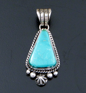 Linda Yazzie (Navajo) - Turquoise & Sterling Silver Bead & Button Accented Triangular Pendant #42559A $200.00