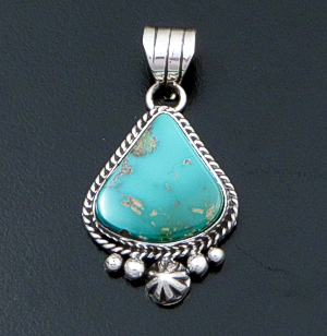 Linda Yazzie (Navajo) - Wide Turquoise & Sterling Silver Bead & Button Accented Teardrop Pendant #42559B $200.00