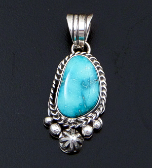 Linda Yazzie (Navajo) - Small Turquoise & Sterling Silver Bead & Button Accented Pendant #42562 $135.00