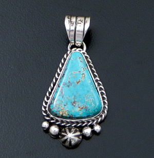 Linda Yazzie (Navajo) - Turquoise & Sterling Silver Bead & Button Accented Triangular Pendant #42563 $135.00
