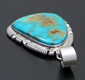 Thomas Francisco (Navajo) - Large Pilot Mountain Turquoise & Sterling Silver Cut & File Pendant #42679 $525.00