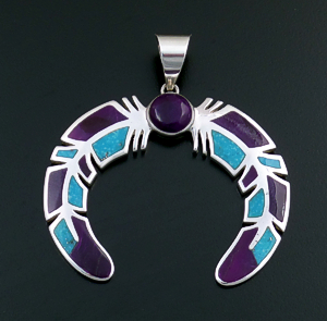Supersmith Inc. - David Rosales Designs (Navajo) - Large Turquoise & Sugilite Double Feather Sterling Silver Naja Pendant #42761  P101 $525.00