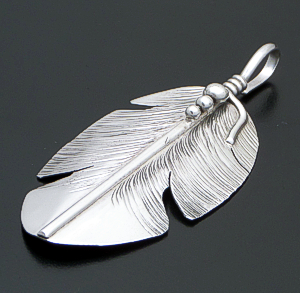 Ben Begay (Navajo) - Large Intricate & Beaded Sterling Silver Feather Pendant #42817 $100.00