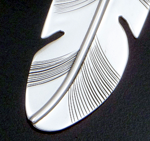 Navajo - Slightly Curved Modern Sterling Silver Feather Pendant #43085 $85.00