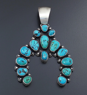 Ben Johnson (Navajo) - Large 15 Stone Turquoise & Satin Finished Sterling Silver Naja Pendant #43103 $400.00
