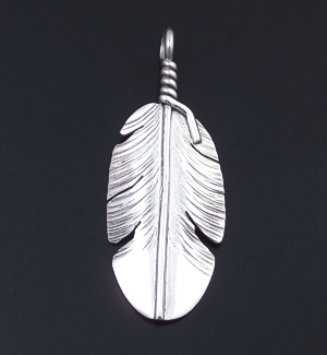 Ben Begay (Navajo) - Intricate Sterling Silver Feather Pendant #43147A $50.00