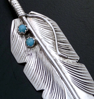 Aaron Davis (Navajo) - Turquoise Accented Intricate Sterling Silver Feather Pendant #43149 $60.00
