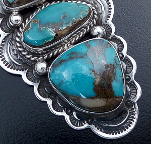 Happy Piasso (Navajo) - Three Stone Turquoise & Stamped Sterling Silver Pendant #43175 $300.00