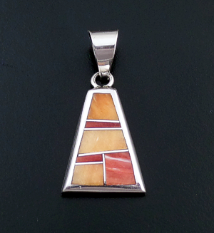 Supersmith Inc. - David Rosales Designs (Navajo) - Desert Fire Inlay & Sterling Silver Triangular Pendant #43192 P629 $150.00