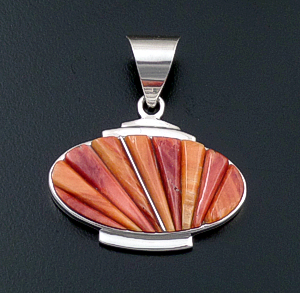 Supersmith Inc. - David Rosales Designs (Navajo) - Desert Fire Shell & Sterling Silver Horizontal Oval Pendant #43365 P229C $260.00