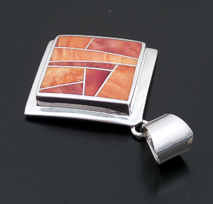 Supersmith Inc. - David Rosales Designs (Navajo) - Desert Fire Inlay & Sterling Silver Large Square Pendant #43366 P505 $150.00
