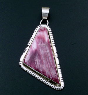 Scott Skeets (Navajo) - Triangular Purple Shell & Sterling Silver Cut & File Pendant #43392 $180.00