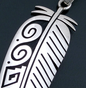Ruben Saufkie (Hopi) - Large Intricate Sterling Silver Overlay Feather Pendant #43429 $575.00