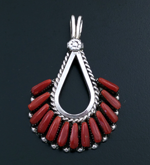 Mary Eustace (Navajo) - Red Coral & Sterling Silver Decorative Fan Pendant #43431 $125.00