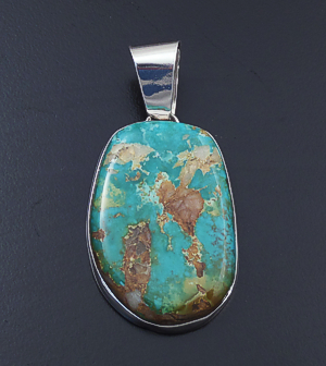 Navajo - Pilot Mountain Turquoise & Sterling Silver Pendant #43473 $195.00