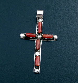 Zuni - Small Coral & Sterling Silver Beaded Cross Pendant #43576A $25.00