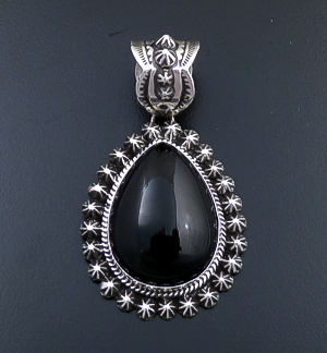 Happy Piasso (Navajo) - Black Onyx & Sterling Silver Button Bordered Teardrop Pendant #43739 $175.00