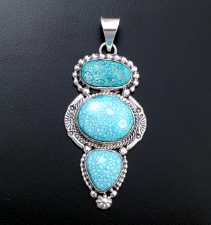 Roie Jaque (Navajo) - Large Kingman Turquoise & Sterling Silver Ornate Pendant #43894 $525.00