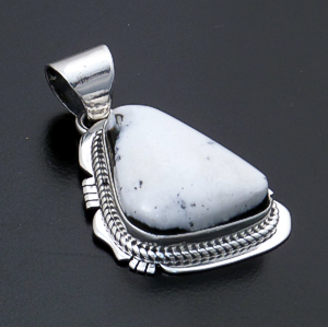 Navajo - Triangular White Buffalo Turquoise & Sterling Silver Cut & File Pendant #43968 $140.00