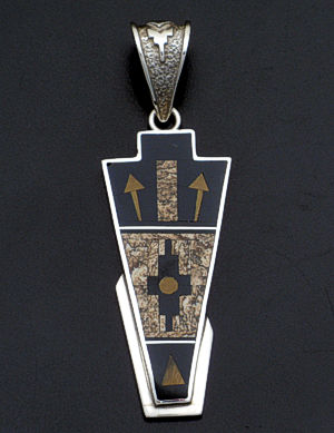 Supersmith Inc. - David Rosales Designs - Native Earth Inlay & Sterling Silver Stylized Arrowhead Pendant #6351 Style P500F $435.00