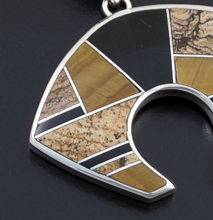 Supersmith Inc. - David Rosales Designs - Native Earth Large Inlay & Sterling Silver Bear Pendant #6374 Style P259 $320.00