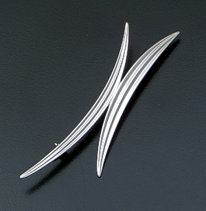 Zina - Double Narrow Leaf Sterling Silver Pin #40843 $105.00