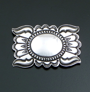 Navajo - Vintage Stamped Sterling Silver Rectangular Concho Pin #40937 $90.00