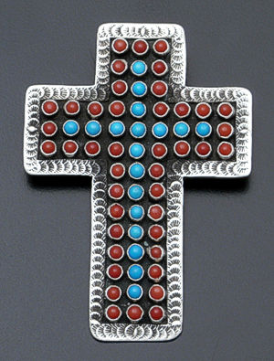 Matthew Charley - Large Blue Turquoise & Coral Sterling Silver Cross Pin/Pendant #36368_coral/turquoise $400.00