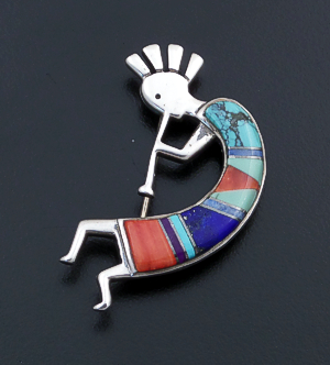 Calvin Begay (Navajo) - Multistone Inlay & Sterling Silver Kokopelli Pin/Pendant #43118 $90.00