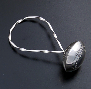 Monica Scott (Navajo) - Stamped Sterling Silver Twist Wire Baby Rattle #8025 $100.00