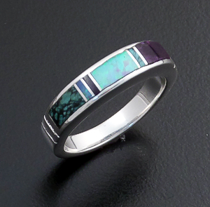 Supersmith Inc. - David Rosales Designs - Shalako Narrow Inlay & Sterling Silver Ring #12066 Style R143 $135.00