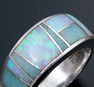 Supersmith Inc. - David Rosales Designs (Navajo) - Amazing Light Inlay & Sterling Silver Single Line Ring #13208 R022 $190.00