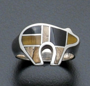 Supersmith Inc. - David Rosales Designs - Native Earth Inlay Sterling Silver Bear Ring #139 Style R257 $150.00