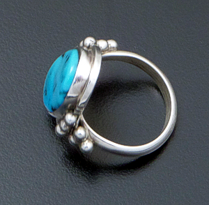 Danny Kenneth (Navajo) - Oval Turquoise & Sterling Silver Beaded Ring #15974A Size 5 $70.00