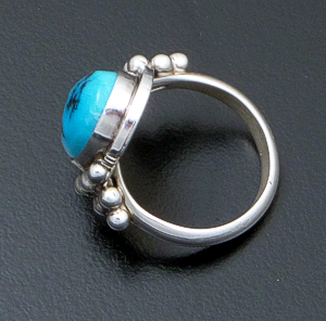 Danny Kenneth (Navajo) - Oval Turquoise & Sterling Silver Beaded Ring #15974B Size 5 $70.00
