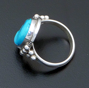 Danny Kenneth (Navajo) - Oval Turquoise & Sterling Silver Beaded Ring #15974 Size 7 $70.00