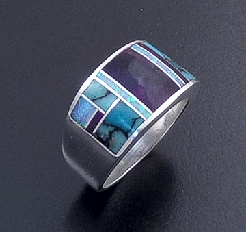 Supersmith Inc. - David Rosales Designs - Shalako Inlay & Sterling Silver Wide Rounded Square Ring #16609 Style R132 $235.00