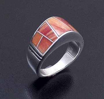 Supersmith Inc. - David Rosales Designs (Navajo) - Desert Fire Inlay & Sterling Silver Lined Dome Ring #20005 Style R125 $240.00
