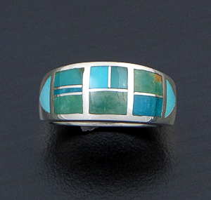 Supersmith Inc. - David Rosales Designs - Turquoise Valley Inlay & Sterling Silver Tapered Ring #20007 Style R195 $200.00