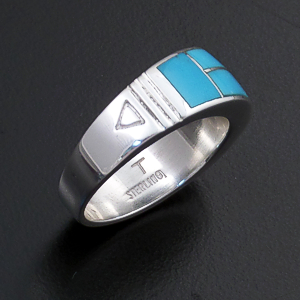 Supersmith Inc. - David Rosales Designs (Navajo) - Arizona Blue Inlay & Sterling Silver Tapered & Stamped Ring #21424 R018 $195.00
